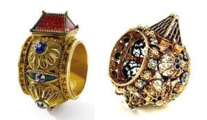 Anillos casa Judios en oro y esmalte