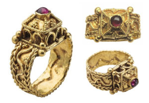 Unio Mid - 6th C architectural gold & garnet Merovingian Ring from The Met Museum