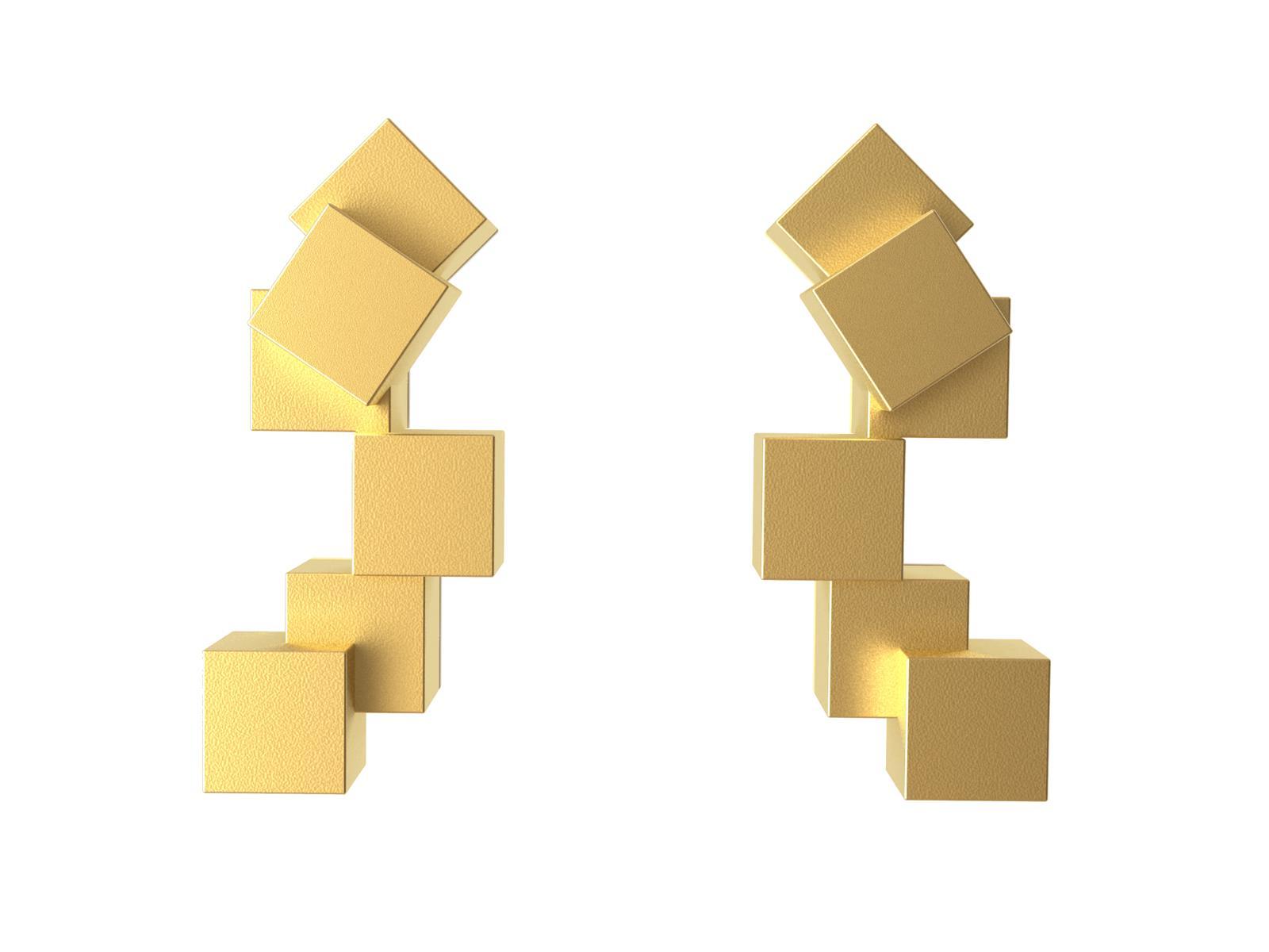 Cubos Oro Pendientes Cortos  01