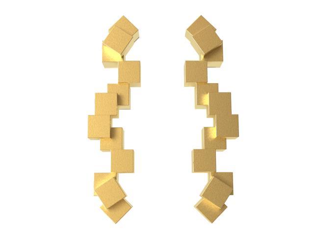 Cubos Oro Pendientes Largos 01