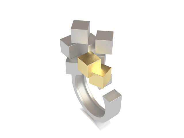 Cubos Plata Blanca Anillo 01