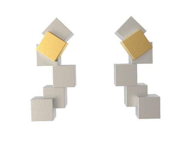 Cubos Plata Blanca Pendientes Cortos 01