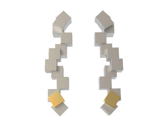 Cubos Plata Blanca Pendientes Largos 01