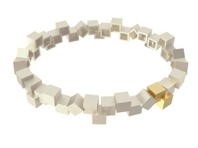 Cubos Plata Blanca Pulsera 02