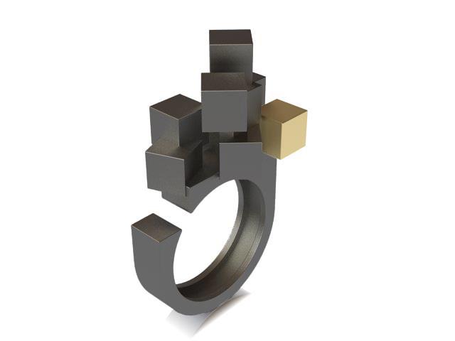 Cubos Plata Oxidada Anillo 01