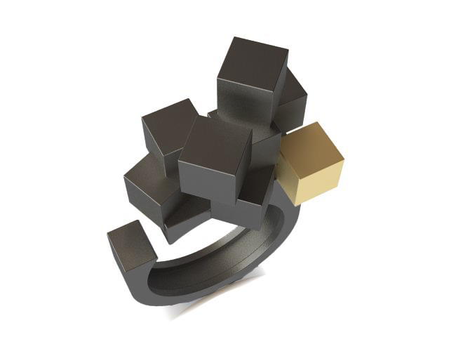 Cubos Plata Oxidada Anillo 02