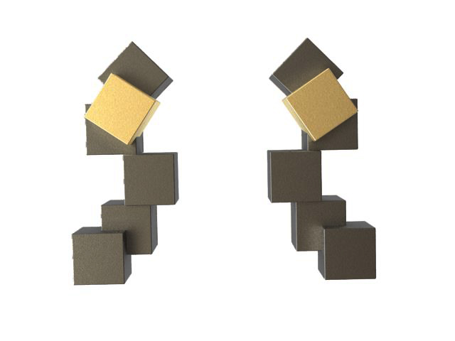 Cubos Plata Oxidada Pendientes Cortos 01